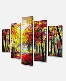"Designart Walk Through Autumn Forest Art Print Canvas - 60"" X 32"" - 5 Panels"