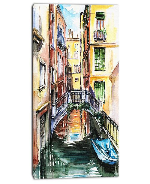 "Design Art Designart Venice Canal Meeting Bridge Cityscape Canvas Art Print - 16"" X 32"""
