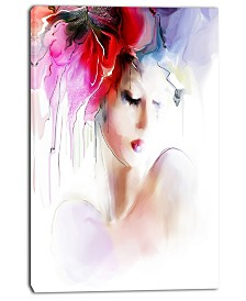 "Designart Fashion Woman Illustration Abstract Canvas Art Print - 30"" X 40"""