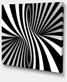 "Designart Black And White Spiral Abstract Canvas Art Print - 40"" X 30"""