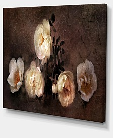 "Designart Wild Roses In Old Painting Style Floral Art Canvas Print - 40"" X 30"""