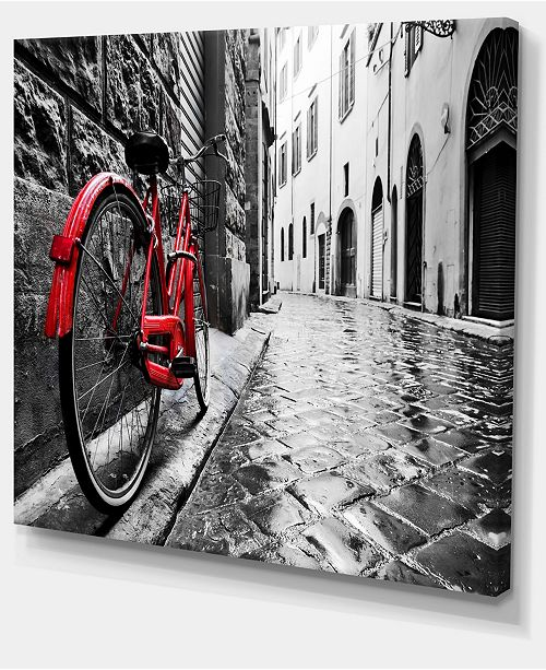 "Design Art Designart Retro Vintage Red Bike Cityscape Photo Canvas Art Print - 40"" X 30"""