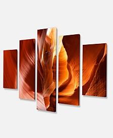"Designart Sunshine In Antelope Canyon Photo Canvas Art Print - 60"" X 32"" - 5 Panels"
