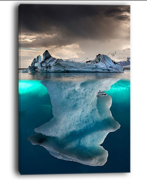"Design Art Designart Large Iceberg In Sea Seascape Photography Canvas Art Print - 30"" X 40"""