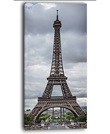 "Designart Grayscale Paris Eiffel Tower Canvas Print - 16"" X 32"""