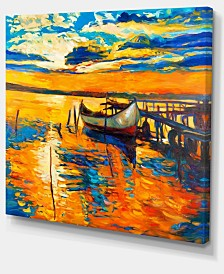 "Designart Boat And Jetty At Sunset Landscape Art Print Canvas - 20"" X 12"""