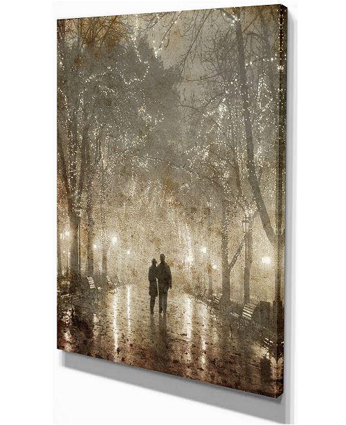 "Design Art Designart Couple Walking In Night Lights Photography Canvas Print - 12"" X 20"""