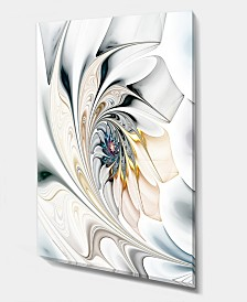 """Designart White Stained Glass Floral Art Large Floral Wall Art Canvas - 12"""" X 20"""""""