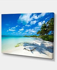 """Designart Tropical Beach With Palm Shadows Large Seashore Canvas Print - 32"""" X 16"""""""