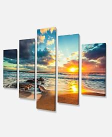 "Designart Beautiful Cloudscape Over The Sea Modern Beach Canvas Art Print - 60"" X 32"" - 5 Panels"