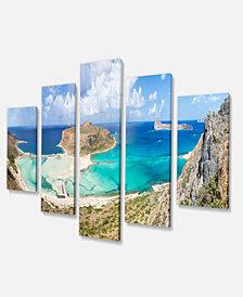 "Designart Balos Beach At Crete Island Greece Oversized Beach Canvas Art - 60"" X 32"" - 5 Panels"