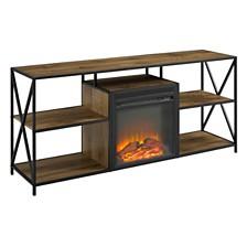 "60"" Fireplace TV Stand Cube Shelf"