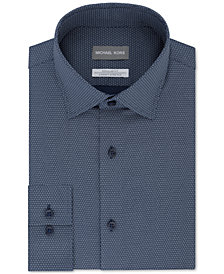 Micheal Kors Men's Classic/Regular-Fit Airsoft Stretch Performance Moisture-Wicking Non-Iron Blue Neat-Print Dress Shirt