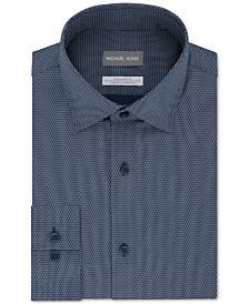 Micheal Kors Men's Classic/Regular-Fit Airsoft Stretch Performance Moisture-Wicking Non-Iron Blue Neat-Print Dress Shirt