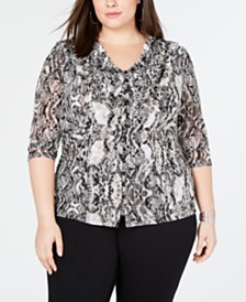 I.N.C. Plus Size Ruffle-Front Top, Created for Macy's