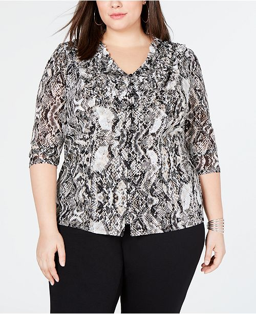 INC International Concepts I.N.C. Plus Size Ruffle-Front Top, Created for Macy's