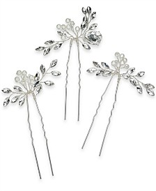 I.N.C. Silver-Tone 3-Pc. Set Crystal & Imitation Pearl Bead Bobby Pins, Created for Macy's