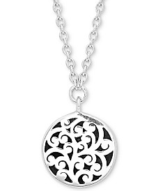 "Lois Hill Scroll Work Disc 18"" Pendant Necklace in Sterling Silver"