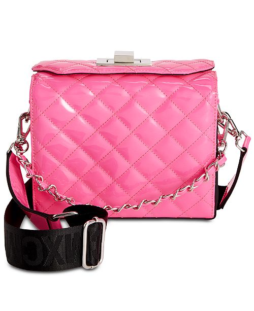 Steve Madden Chrissy Webbed-Strap Patent Box Bag