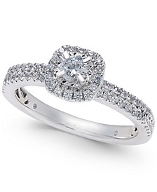 Diamond Halo Engagement Ring (1/2 ct. t.w) in 14k White Gold