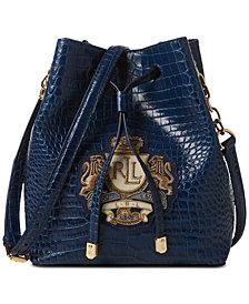 Lauren Ralph Lauren Dryden Mini Debby II Drawstring Crocodile-Embossed Leather Bag
