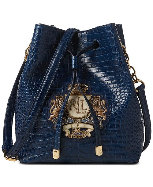 214a537d41 ... Lauren Ralph Lauren Dryden Mini Debby II Drawstring Crocodile-Embossed Leather  Bag ...