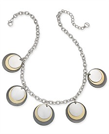 "Alfani Tri-Tone Disc Frontal Necklace, 17"" + 2"" extender, Created for Macy's"