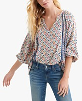 28d997b2b15e59 Lucky Brand Printed Split-Neck Top
