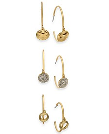 Gold-Tone 3-Pc. Set Cuff Medium Hoop Earrings , Created for Macy's