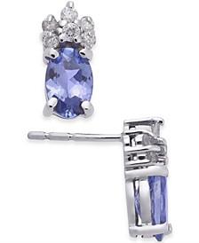 Tanzanite (1 ct. t.w.) & Diamond (1/10 ct. t.w.) Stud Earrings in 14k White Gold