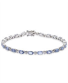 "Tanzanite (7-1/3 ct. t.w.) & White Topaz (7/8 ct. t.w.) 7-1/2"" Bracelet in Sterling Silver"