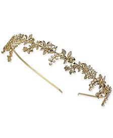 I.N.C. Gold-Tone Crystal & Imitation Pearl Headband, Created for Macy's