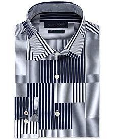 Tommy Hilfiger Men's Slim-Fit TH Flex Non-Iron Supima Stretch Patchwork Dress Shirt