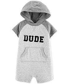 Carter's Baby Boy DUDE Graphic Hooded Cotton Romper