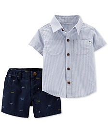 Carter's Baby Boys 2-Pc. Pocket Cotton Shirt & Whale-Print Shorts