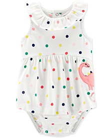Carter's Baby Girls Dot-Print Dino Cotton Sunsuit