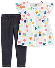 Baby Girls 2-Pc. Dot-Print Cotton Tunic & Jeggings Set