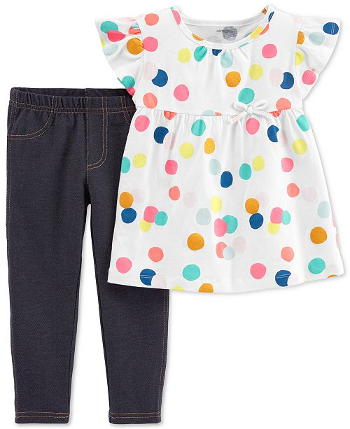 Carter's Baby Girls 2-Pc. Dot-Print Cotton Tunic & Jeggings Set