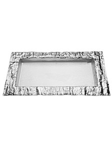 Rectangular Glass Tray With Silver Embossed Border