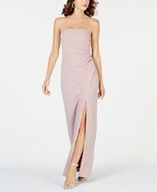 Adrianna Papell Metallic-Knit Strapless Gown