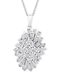 "Diamond (1 ct. t.w.) Starburst Pendant Necklace in 14k White Gold, 16"" + 4"" extender, Created for Macy's"