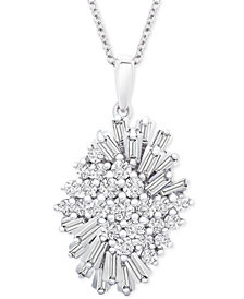 "Wrapped in Love Diamond (1 ct. t.w.) Starburst Pendant Necklace in 14k White Gold, 16"" + 4"" extender, Created for Macy's"