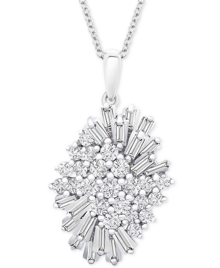 """Wrapped in Love - Diamond (1 ct. t.w.) Starburst Pendant Necklace in 14k White Gold, 16"""" + 4"""" extender"""