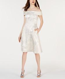 Calvin Klein Brocade Off-The-Shoulder Fit & Flare Dress