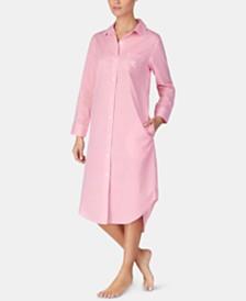 Lauren Ralph Lauren Print & Logo Woven Cotton Long Ballet Sleepshirt