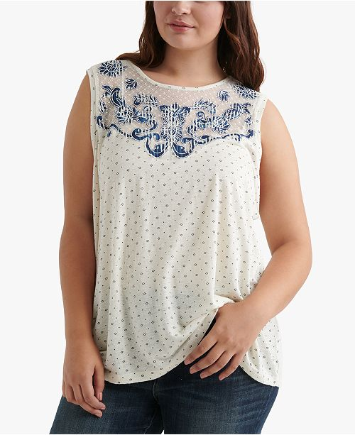 Lucky Brand Plus Size Appliquéd Sleeveless Top