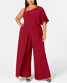 R & M Richards Plus Size One-Shoulder Jumpsuit