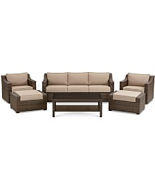 Camden Outdoor Aluminum 6-Pc. Seating Set (1 Sofa, 2 Swivel Chairs, 1 Coffee Table & 2 Ottomans), Created for Macy's