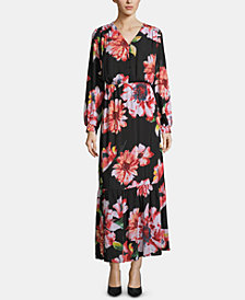 ECI Floral-Print Shirred-Shoulder Dress
