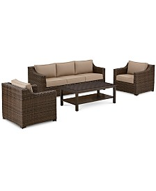 Camden Outdoor Aluminum 4-Pc. Seating Set (1 Sofa, 2 Chairs & 1 Coffee Table), Created for Macy's